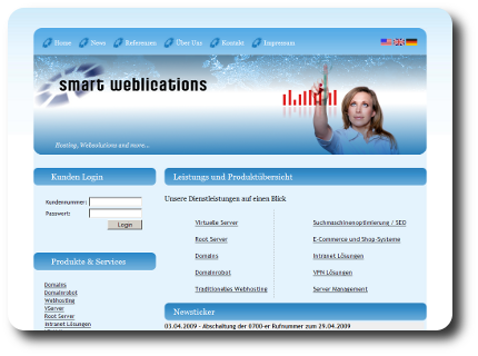 Hosting von Smart Weblications GmbH - Root Server, VServer, Webhosting, Suchmaschinenoptimierung, E-Commerce
